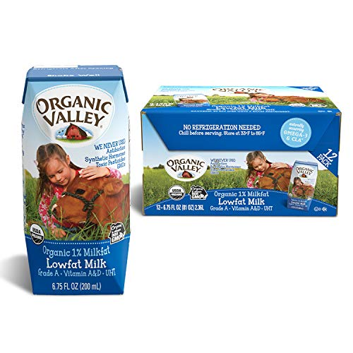 - Organic Valley, Organic Milk Boxes, 1% Plain Lowfat Milk, 6.75 oz (Pack of 12)