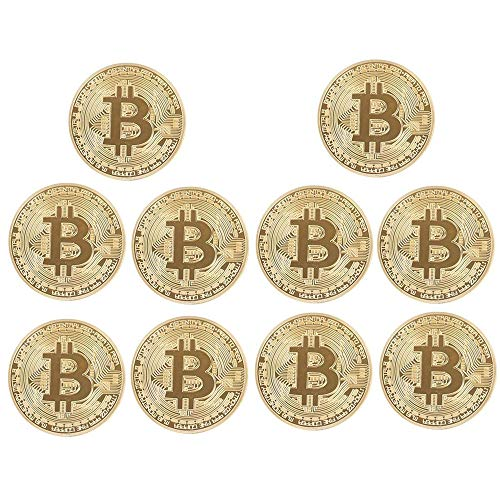 zcccom 10 Pcs Bitcoin Coin Deluxe Collector's Set | Featuring The Limited Edition Original Commemorative Tokens Each Coin Comes w/ a Plastic Round Display Case (10 pcs Gold) (Deluxe Collector Set)