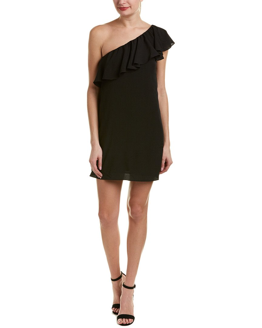 French Connection Women's Summer Crepe Light One Shoulder Dress, Black, XS