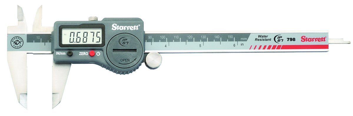 Starrett 798A-6/150 Digital Caliper, Stainless Steel, Battery Powered, Inch/Metric, 0-6'' Range, +/-0.001'' Accuracy, 0.0005'' Resolution, Meets DIN 862 Specifications by Starrett (Image #1)