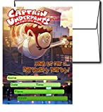 12 CAPTAIN UNDERPANTS MOVIE Birthday Invitation Cards (12 White Envelops Included) #1