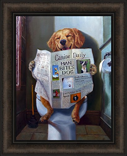 Dog Gone Funny by Lucia Heffernan 18x22 Humorous Reading Newspaper Canine Daily Toilet Bathroom Framed Art Print - Reading Pictures Glasses