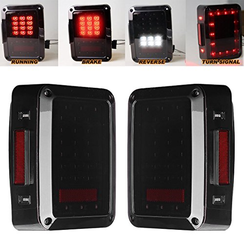 LED Tail Lights for JK 2007-2015 Jeep Wrangler with Running Brake Backup Reverse Turning Signal Light Tail Lamp Assembly (Jk Led Tail Lights compare prices)