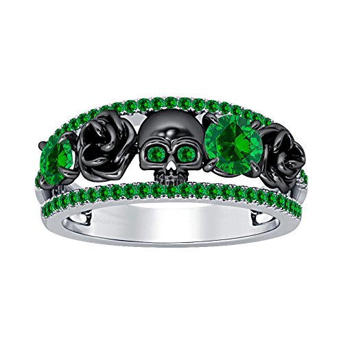 Emerald Sterling Plated - 925 Sterling Silver Plated Created Round Cut Emerald Two Black Flower Design Engagement Fashion Skull Ring