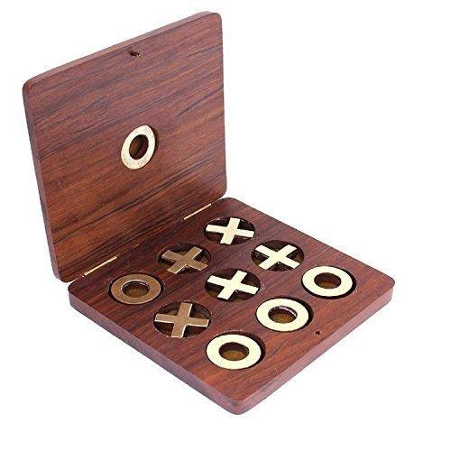Handmade Vintage Wooden Tic Tac Toe Rosewood Game Set /