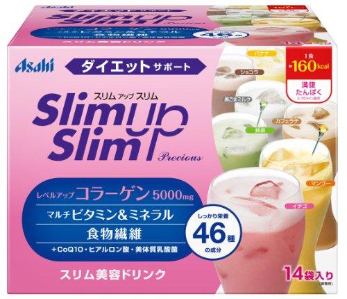 スリムアップスリム プレシャス シェイク 14食分 (マンゴー、抹茶、カフェラテ、黒ごまミルク、イチゴ、バナナ、ココア)