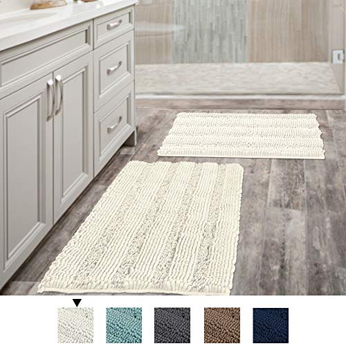 H.VERSAILTEX (Set of 2) Super Thick Soft Striped Shaggy Chenille Bath Mats Machine Washable Bath Rugs Set for Bathroom, Dry Fast Water Absorbent Bath Mats, Cream (Pack 2-20' x 32'/17' x 24')
