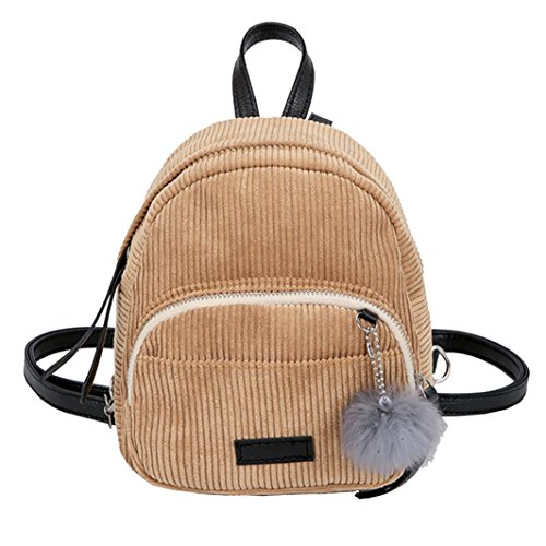 Mini Backpack School Bag Shoulder Candy Color Corduroy with Fur Ball for Girl