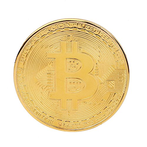 LTUI 10x Gold Plated Bitcoin Coin Collectible Gift BTC Coin Art Collection Physicala With Plastic Round Display Case