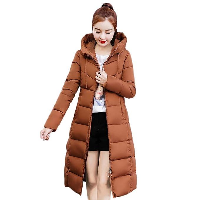beautyjourney Abrigo con Capucha de Invierno Mujer Chaquetas de algodón  largas y Ajustadas Abrigo de algodón con Capucha Acolchado y abrigado   Amazon.es  ... 21f4fe1b6294