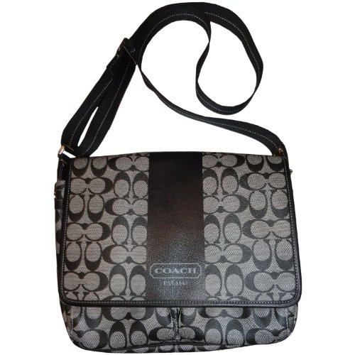 Coach Men's Heritage Stripe Signature Map Messenger Bag Black White, Bags Central