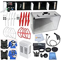 Adventure Plus Accessory Bundle for Phantom 4 Includes DJI Phantom 4 Flight Battery + Easy Carry Vest + Parallel Triple Charger + 4PCS Red & White Propellers & Prop Guards + Hard-Shell Case & More!