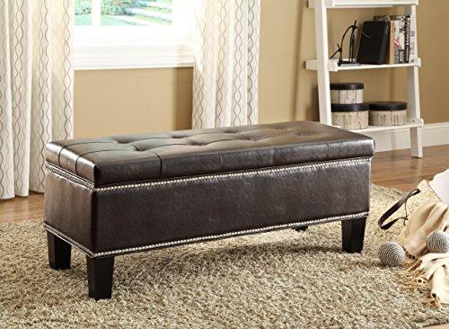 HOMELEGANCE 4602PU Lift-Top Storage Bench/Ottoman, Bi-Cast Vinyl, (Homelegance Leather Bed)