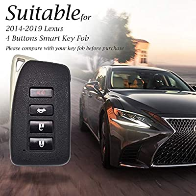 Vitodeco Genuine Leather Smart Key Fob Case Cover Protector with Leather Key Chain for 2014-2020 Lexus UX, NX, RX, GX, LX, is, ES, GS, LS (4-Button, Black): Automotive