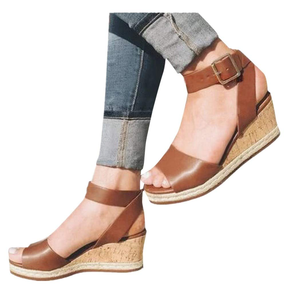 Cenglings Wedges Shoes,Womens Open Toe One Band Ankle Strap Platform Sandals Buckle Espadrilles Ladies Roman Sandals Brown by Cenglings