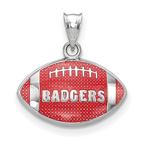 FB Jewels Solid 925 Sterling Silver Univ. Of Wisconsin Badgers Enameled Football Pendant