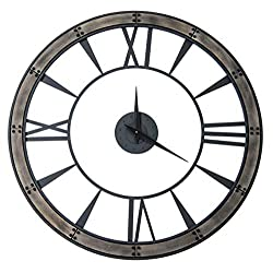 Deluxe Lamp Ronan Wall Quartz Clock 34 Openwork Design Rustic Round Iron Bronze Wood Wall Clock Distressed