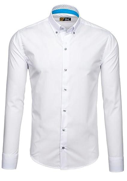 c7589aebc73f1 BOLF Hombre Camisa Elegante 6927 Blanca XXL  2B2   Amazon.es  Ropa y  accesorios
