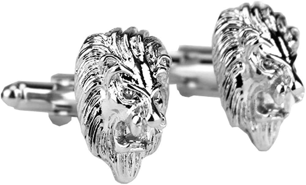 D&L Menswear Rhodium Plated Lion Head Cufflinks With Black Gift Box