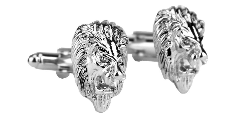 D&L Menswear Rhodium Plated Lion Head Cufflinks with Black Gift Box