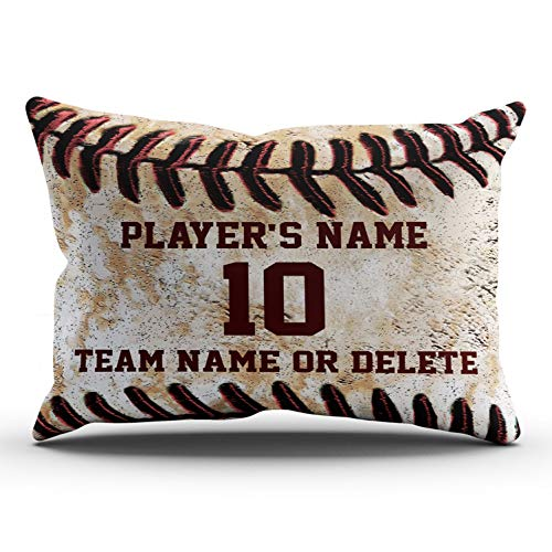 Baseball Player 3 Embroidery - XIUBA Pillowcases Brown and Red Personalized Senior Baseball Player Gift Ideas Customizable Cushion Decorative Rectangle 20x36 inch King Size Throw Pillow Case Hidden Zipper One Side Design Printed
