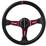 10 steering wheel with horn - Universal Fitment 350MM PVC 6 Hole Steering Wheel Deep Dish Red Spoke Black Horn & Black Emblem by IKON MOTORSPORTS
