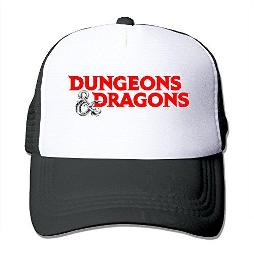 Dragon Logo Hat - Dungeons & Dragons Game Logo Adjustable Snapback Mesh Trucker Hat