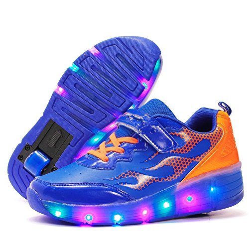 YSNJL Kids Boys Girls High-Top Shoes LED Light Up Sneakers Single Wheel Double Wheel Roller Skate Shoes-(Single-Blue-38/5.5 M US Big Kid) ()