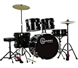 New-Drum-Set-Black-5-Piece-Complete-Full-Size-with-Cymbals-Stands-Stool-Sticks