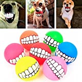 LYPULIGHT Pet Squeaky Toy Dog Ball Teeth Funny Silicone Chew Squeaker Sound Dogs Play Toys,Random Color, 1PC