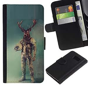 // PHONE CASE GIFT // Moda Estuche Funda de Cuero Billetera Tarjeta de crédito dinero bolsa Cubierta de proteccion Caso Samsung Galaxy S6 / Retro Deer Astronaut /