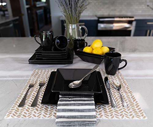 10 Strawberry Street Square 16 Piece Dinnerware Set, Black by 10 Strawberry Street (Image #5)