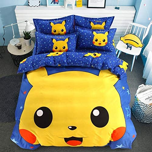 Four Pieces Bed Sets Bedding Set Comforter Set Pikachu Duvet Cover Bedding Sheet Pillow Cover For Kids Bedroom Guest Room 100 Cotton Yellow Blue Single Size Buy Online At Best Price In