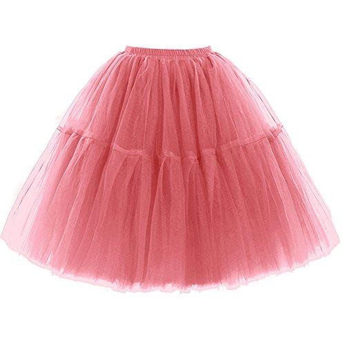 FOLOBE Adult Ballet Tutu Layered Organza Lace Mini Skirt Women's Princess Petticoat for Prom Party,Small / Medium,Rubberpowder]()