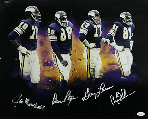 (Purple People Eaters Autographed Minn Vikings 16x20 Photo- JSA Auth White)