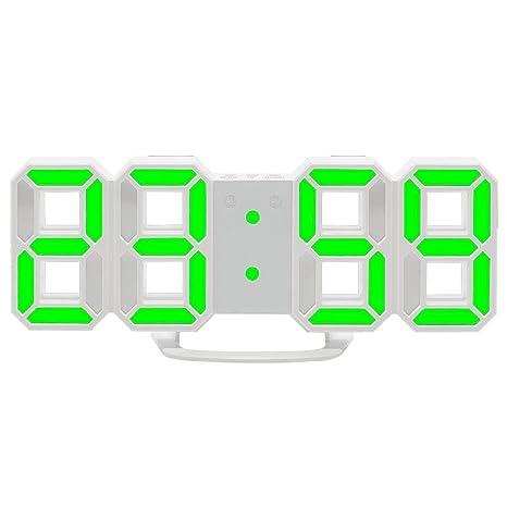 Aolvo Reloj despertador digital LED para escritorio / estante / mesa, mesa LED digital moderna