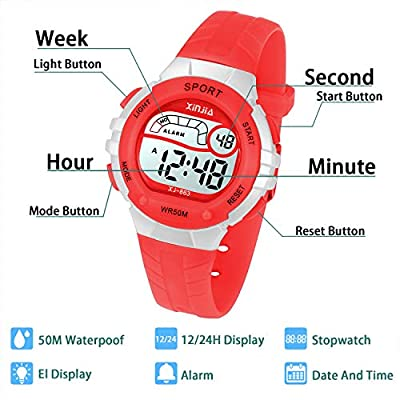 Kids Digital Watch,Boys Girls Sports Outdoor LED 50M(5ATM) Waterproof Multi Functional Wrist Watches with Alarm for Children,Girls,Boys(Black/Pink/Blue/Red/Purple) by XINYIXING