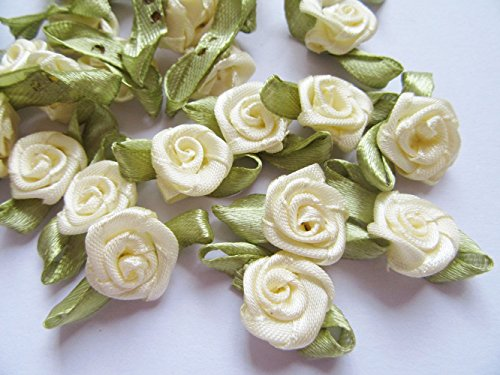 YYCRAFT Pack of 100 pcs Ivory Satin Ribbon Rose w/Leaf Wedding Bride Appliques/Craft ()