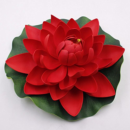 Lotus flowers 3pcs/lot 18cm Artificial PE Foam Water Lily Floating Pool Plants DIY party festival Home Decor Wedding Decoration Decoration Flower (red)