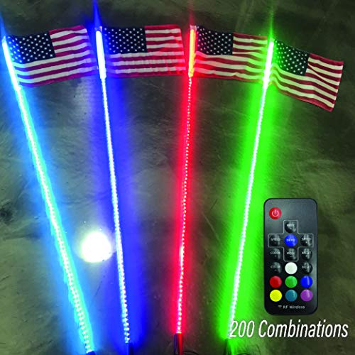 G2 4ft 20 Color 200 Combination LED Lighted Whip With Quick Connect and 1 Year Warranty (Atv Racing Chip)