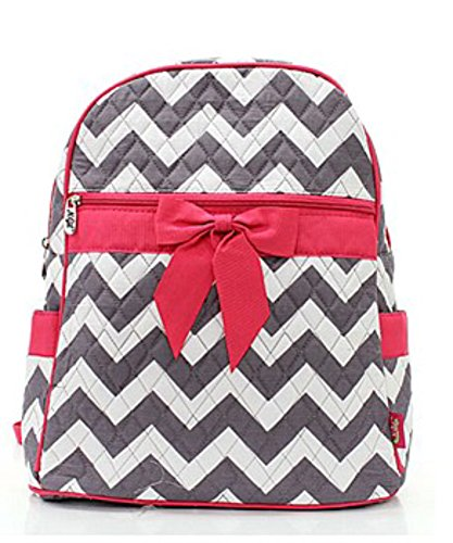Quilted Gray And White Chevron Medium Backpack With Hot Pink Accents