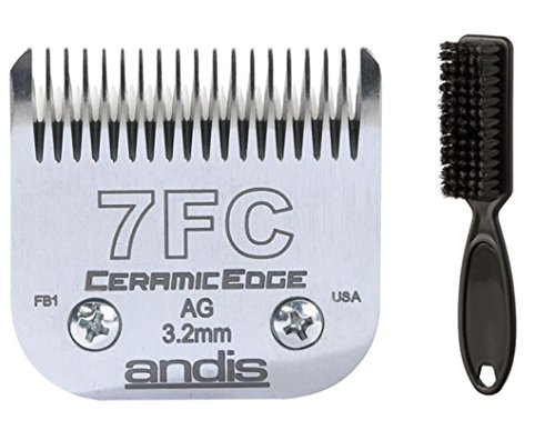 Andis CeramicEdge Professional Detachable Clipper Blade for Animal & Pet Grooming - Size # 7FC with Blade Brush by Andis