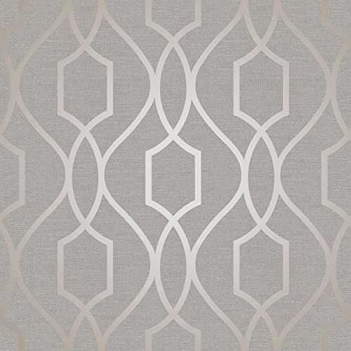 Apex Geometric Trellis Wallpaper Grey and Taupe Fine Decor FD41997 - Fine Decor