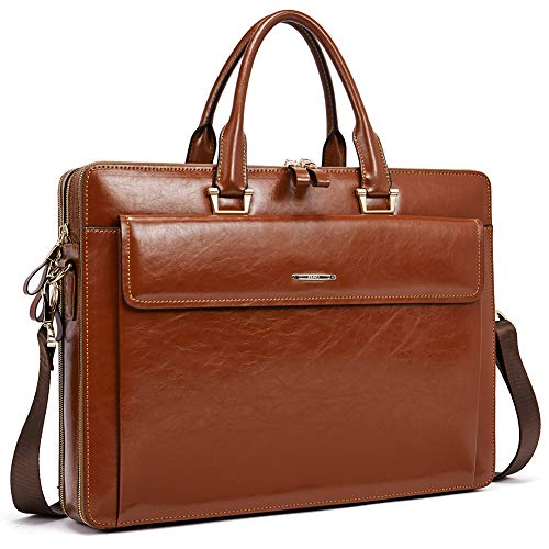 - Women Oil Wax Leather Briefcases Slim Large Business 15.6
