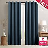 84 grommet panels - Blackout Curtains for Living Room 84 inch Length Bedroom Window Curtains Triple Weave Room Darkening Curtain Panels Thermal Insulated Grommet Top Drapes, Navy Blue, 1 Pair