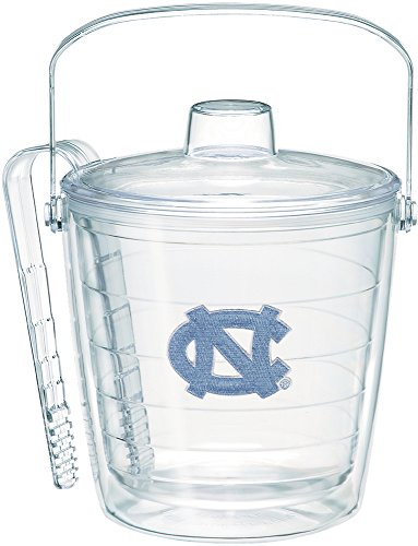 Tervis 1243971 North Carolina Tar Heels Logo Insulated Ice Bucket and Tongs with Emblem and Clear Lid - Boxed 87oz