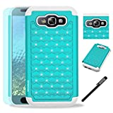 Samsung Galaxy E5 / E500 Case, INNOVAA Fashion Studded Rhinestone Armor Case W/ Free Screen Protector & Stylus Pen - Teal