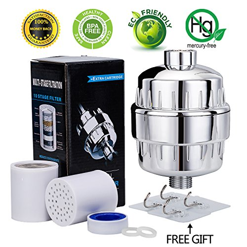 Universal 10-Stage Shower Water Filter with 2 Replaceable Cartridges - Removes Chlorine and Harmful Substances - Protect Skin and Hair Health(with 4pcs Wall Hooks ) (White) (Filter Shower Wellness)