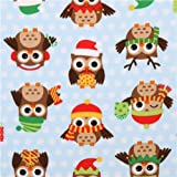 blue Christmas owl flannel fabric Holiday Hoot (per 0.5m multiples)