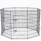 Image of Dog Exercise Pen Pet Playpens for X-Large Dogs - Puppy Playpen Outdoor Back or Front Yard Fence Cage Fencing Doggie Rabbit Cats Playpens Outside Fences with Door - 42 Inch Metal Wire 8-Panel Foldable